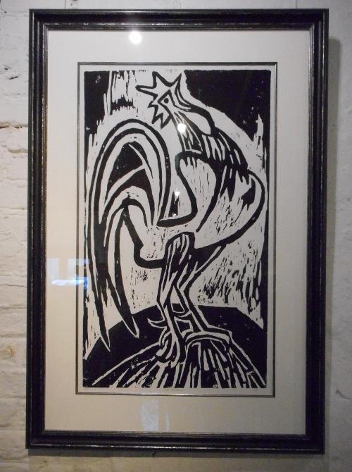 Der gewaltige Hahn - ein Holzschnitt von Hans Fischer