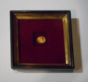 Einrahmung einer goldenen Münze auf rotem Samt