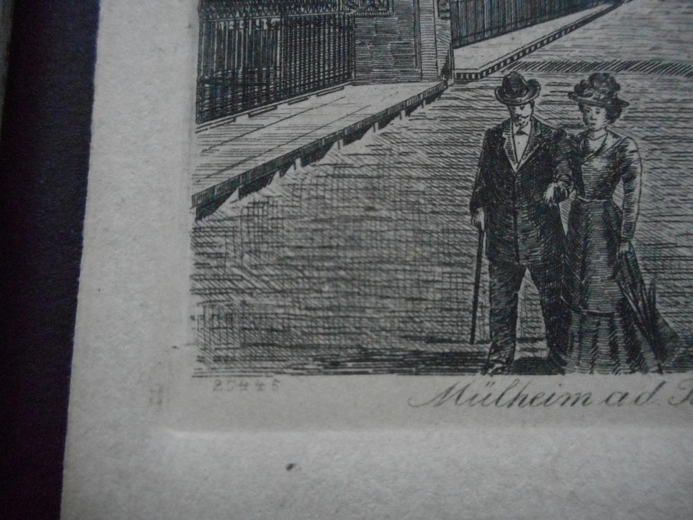 Detail aus der Radierung Alte Kettenbrücke in Mülheim an der Ruhr